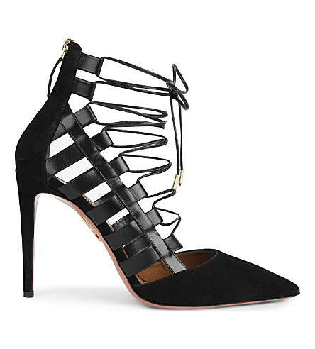 AQUAZZURA Amazon 105 leather courts (Black
