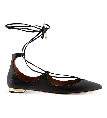 AQUAZZURA Christy leather flats (Black