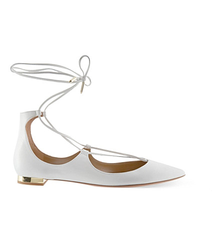 AQUAZZURA Christy leather flats (White