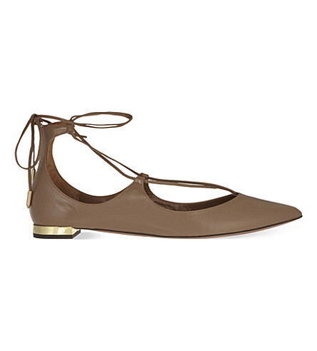 AQUAZZURA Christy leather pointed toe flats (Taupe