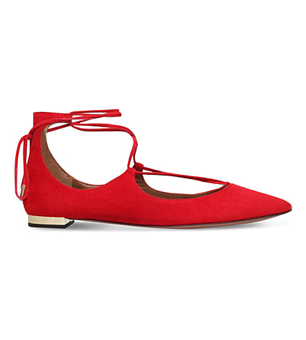 AQUAZZURA Christy suede flats (Red