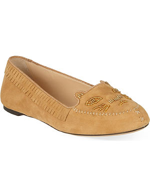 CHARLOTTE OLYMPIA Kitty suede moccasins