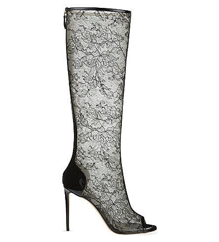 NICHOLAS KIRKWOOD Lace heeled knee boots (Black