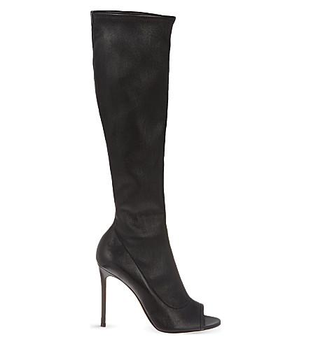 GIANVITO ROSSI Bodmin peep toe knee high boots (Black
