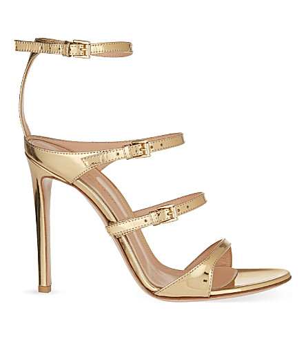 GIANVITO ROSSI Ives metallic leather sandals (Gold