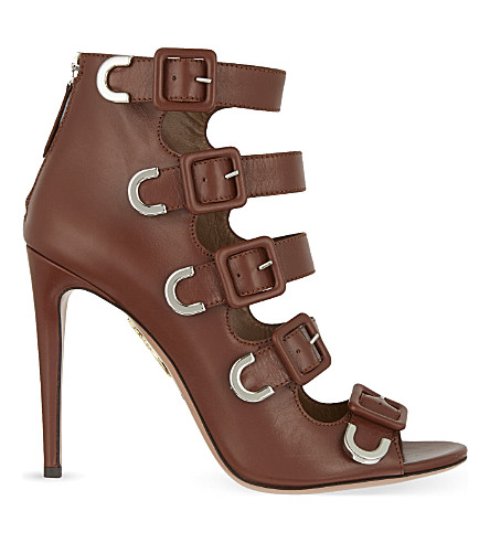 AQUAZZURA Tutto buckle heeled boots (Brown