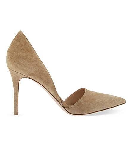 GIANVITO ROSSI Rosemary suede d'Orsay courts (Taupe