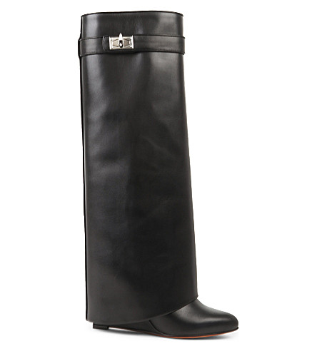 GIVENCHY Pant bootie leather knee-high boots (Black
