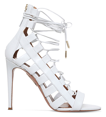 AQUAZZURA Amazon 105 leather heeled sandals (Nude
