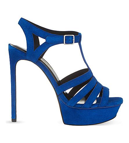SAINT LAURENT Bianca 135 t-bar heeled sandals (Blue