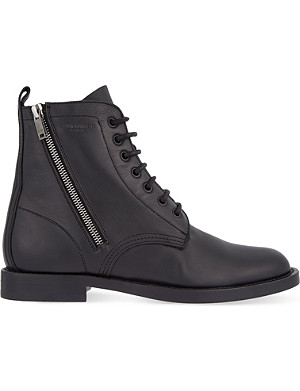 SAINT LAURENT Leather combat boots