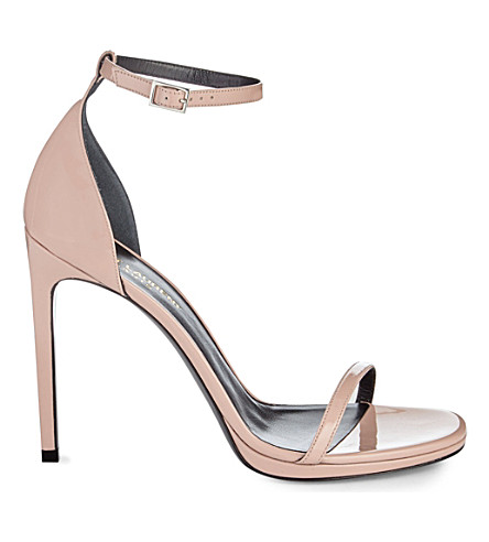 SAINT LAURENT Jane patent leather sandals (Pale pink
