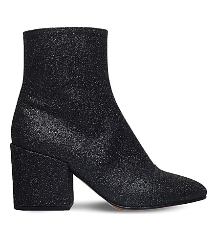 DRIES VAN NOTEN Zip-up glitter ankle boots (Black