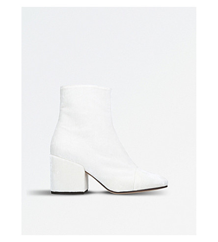 DRIES VAN NOTEN Zip-up velvet ankle boots (White