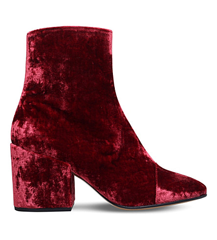 DRIES VAN NOTEN Zip-up velvet ankle boots (Rust