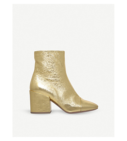 DRIES VAN NOTEN Zip-up metallic-leather ankle boots (Gold