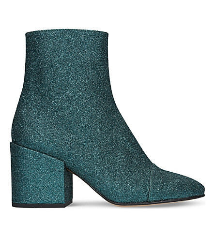 DRIES VAN NOTEN Glitter ankle boots (Turquoise