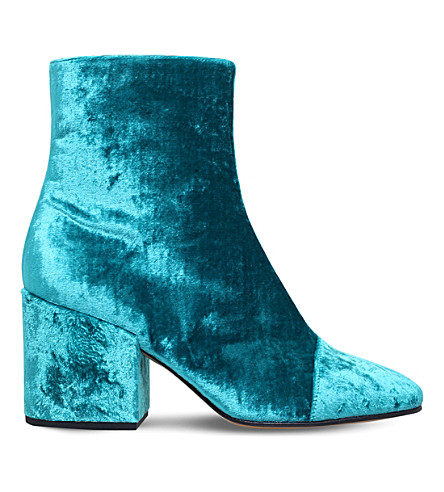 DRIES VAN NOTEN Zip-up velvet ankle boots (Blue