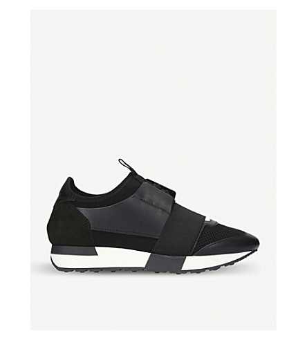 BALENCIAGA Race Runners leather, neoprene, jersey and mesh low-top trainers (Black