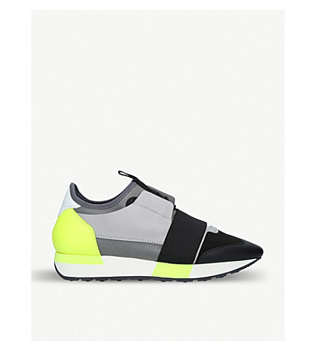 BALENCIAGA Race Runners leather, suede and mesh trainers (Black/comb