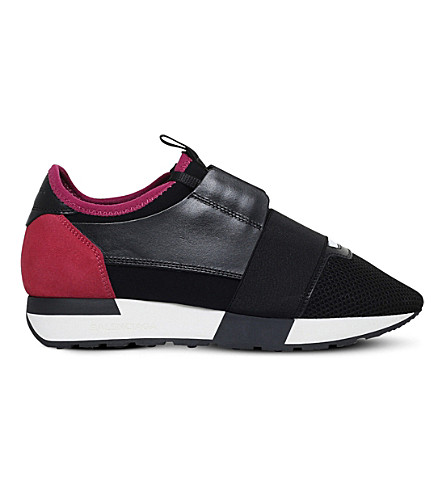 BALENCIAGA Race Runners leather and mesh trainers (Blk/other