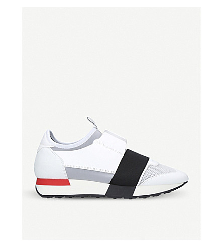 BALENCIAGA Race Runners leather, neoprene, jersey and mesh low-top trainers (White