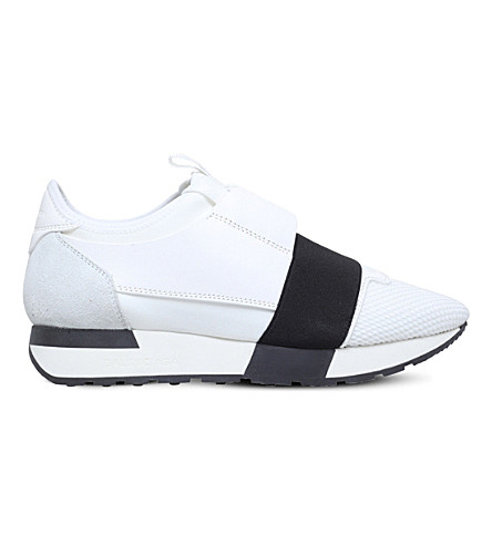 BALENCIAGA Race Runners leather and mesh sneakers (White/blk