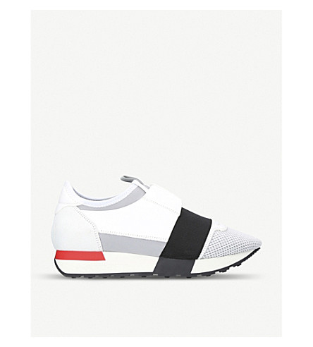 BALENCIAGA Race Runners leather and mesh trainers (White/comb