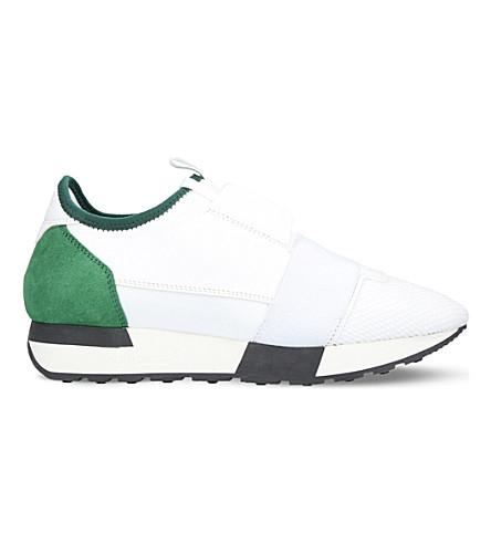 巴黎世家赛跑运动员皮革和网眼运动鞋 (白色/其他