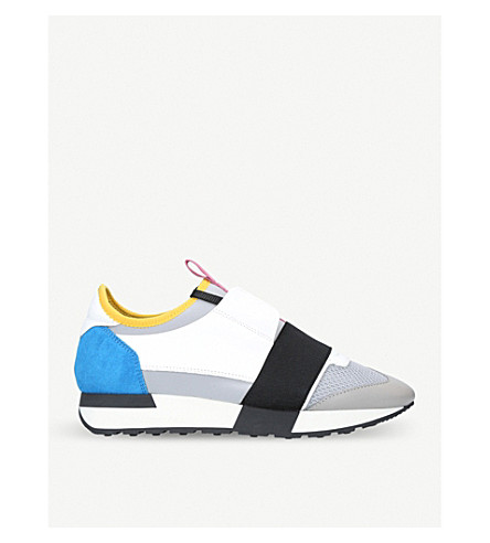 BALENCIAGA Race Runners leather, neoprene, jersey and mesh low-top trainers (Grey
