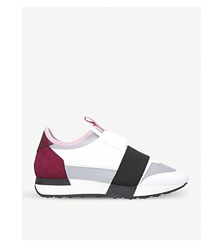 巴黎世家比赛亚军皮革, 氯丁橡胶, 球衣和网眼低运动鞋 (灰色 + 混合