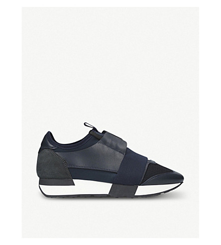 BALENCIAGA Race Runners leather and mesh trainers (Blue/dark