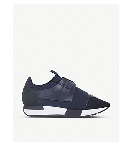 BALENCIAGA Race Runners leather and mesh trainers (Navy