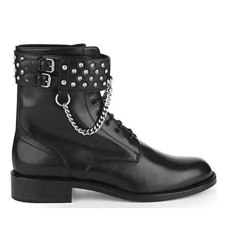 SAINT LAURENT Rangers studded leather combat boots (Black