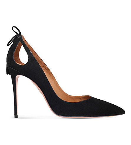 AQUAZZURA Forever marilyn 105 suede courts (Black