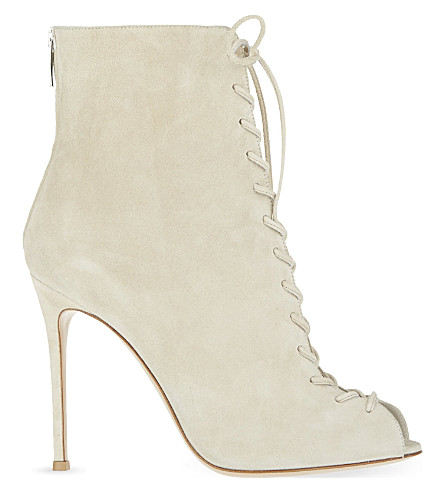 GIANVITO ROSSI Peep suede lace-up booties (Winter wht