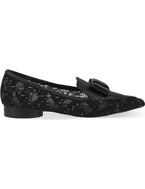 NICHOLAS KIRKWOOD Erdem leather and lace pointed flats