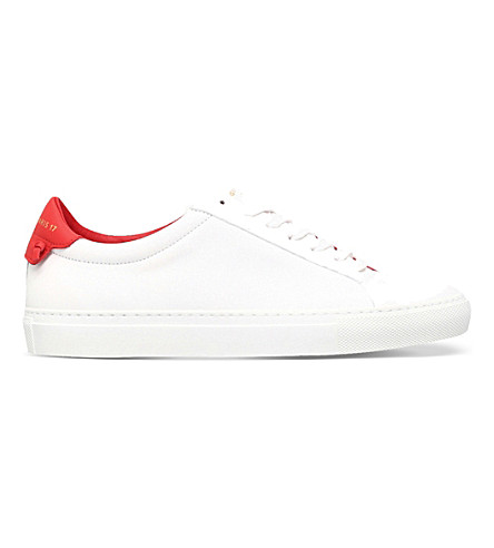 GIVENCHY Knot-detail leather trainers (White/red