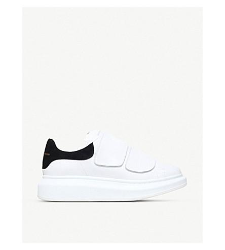 ALEXANDER MCQUEEN 跑道真皮平台运动鞋 (白色