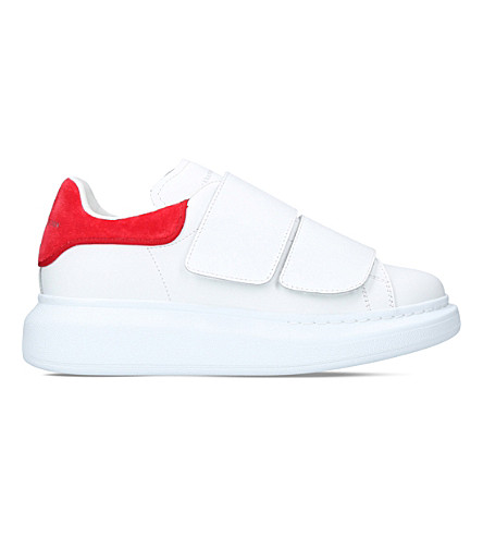 ALEXANDER MCQUEEN Show strapped leather trainers (White/red