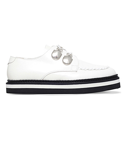 ALEXANDER MCQUEEN Plait-trim leather creepers (Winter wht