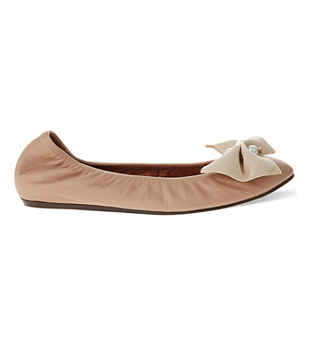 LANVIN Bravo leather ballet flats (Nude