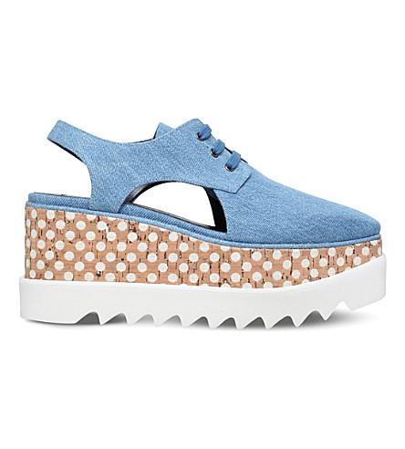 STELLA MCCARTNEY Elyse cutout flatform shoes (Denim