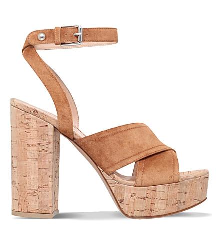 GIANVITO ROSSI Suzie suede platform sandals (Tan
