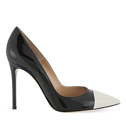GIANVITO ROSSI Allie patent-leather courts (Blk/white