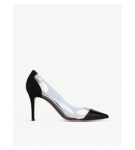 GIANVITO ROSSI Plexi 85 patent leather and PVC pumps (Black