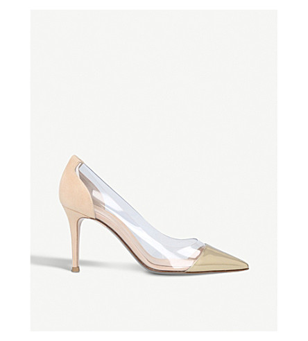 GIANVITO ROSSI Plexi 85 suede and PVC courts (Gold
