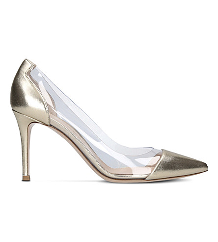 GIANVITO ROSSI Plexi 85 leather and PVC pumps (Gold