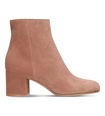 GIANVITO ROSSI Margaux suede block heel ankle boots (Nude