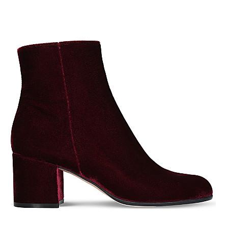 GIANVITO ROSSI Margaux velvet block heel ankle boots (Wine